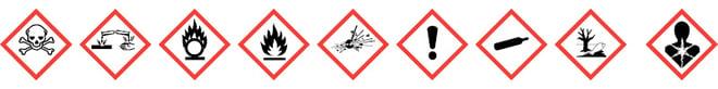 CLP- mærker | Farepiktogrammer | Sikkerhedsdatablade