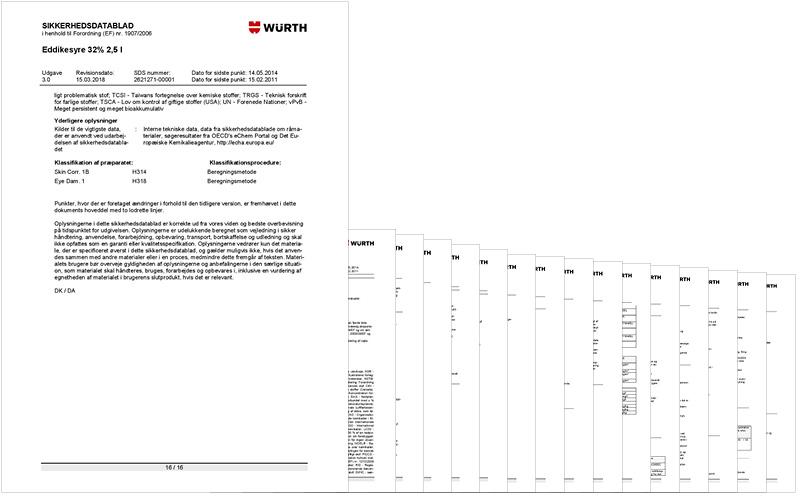 Sikkerhedsdatablad Wurth eddikesyre